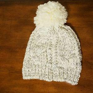 Lauren Conrad ivory snowball hat
